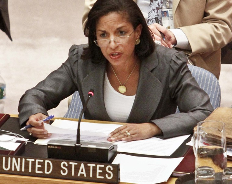 U.S. Ambassador Susan Rice speaks during a meeting on Syria in the United Nations Security Council, Aug. 30, 2012. (Photo by Bebeto Matthews/AP)