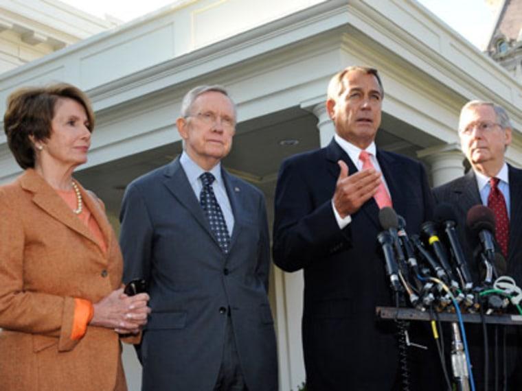 House Minority Leader Nancy Pelosi, Senate Majority Leader Harry Reid, Speaker of the House John Boehner and Senate Minority Leader Mitch McConnell speak to reporters at the White House on Friday, Nov. 16, 2012 (Roger Wollenberg/Getty Images)