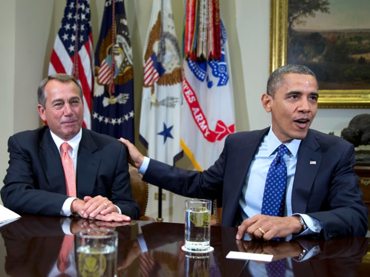 President Obama acknowledging House Speaker John Boehner at the White House on Friday during a meeting with congressional leaders. (Carolyn Kaster/AP Photo)