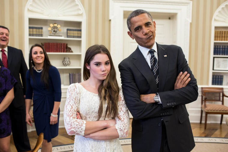 """Olympic gold medalist McKayla Maroney and President Barack Obama recreated her iconic """"not impressed"""" face in the Oval Office. (Official White House Photo by Pete Souza)"""