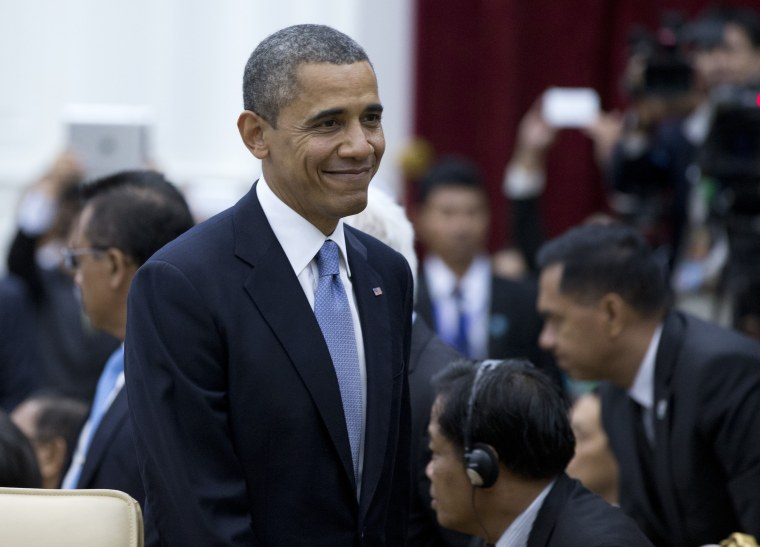 President Obama walks to his seat at the East Asia Summit at the Peace Palace in Phnom Penh, Cambodia(AP Photo/Carolyn Kaster)