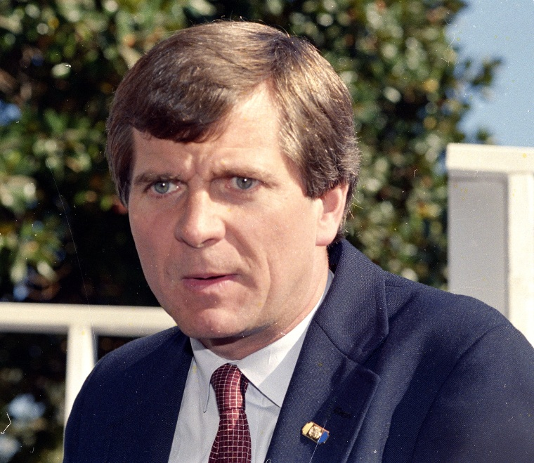 Lee Atwater, Pres. George Bush's campaign manager, is seen, Oct. 1988.  (AP Photo)