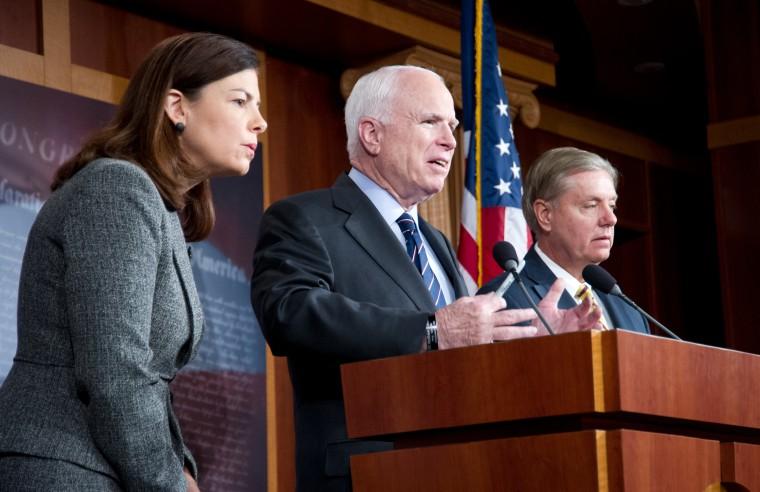 US Senators John McCain(C) (R-AZ), Lindsey Graham(R) (R-SC) and Kelly Ayotte (R-NH) held a press conference regarding the terrorist attack in Benghazi, Libya. (Photo by Karen Bleier/AFP/Getty Images)