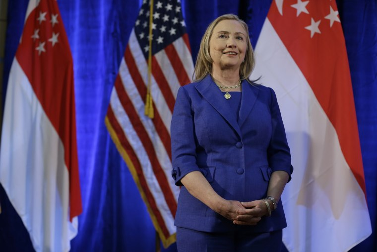 Secretary of State Hillary Rodham Clinton, in Singapore Saturday, is headed to the Middle East.(AP Photo/Matt Rourke, Pool)