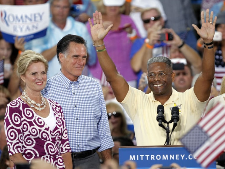 U.S. Rep. Allen West, R-Fla. waves before introducing Republican presidential candidate and former Massachusetts Gov. Mitt Romney and his wife Ann Oct. 7 in Port St. Lucie, Fla. (Photo by Lynne Sladky/AP)