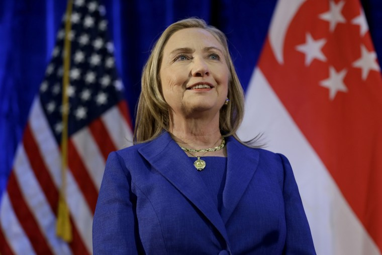 U. S. Secretary of State Hillary Rodham Clinton waits to speak as she is introduced at Singapore Management University, Saturday, Nov. 17, 2012, in Singapore. (AP Photo/Matt Rourke, Pool)