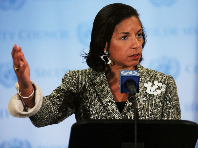 FIle Photo: U.S. Ambassador to the United Nations Susan Rice addresses the media following a UN Security Council meeting on July 11, 2012 in New York City.  (Photo by Spencer Platt/Getty Images)
