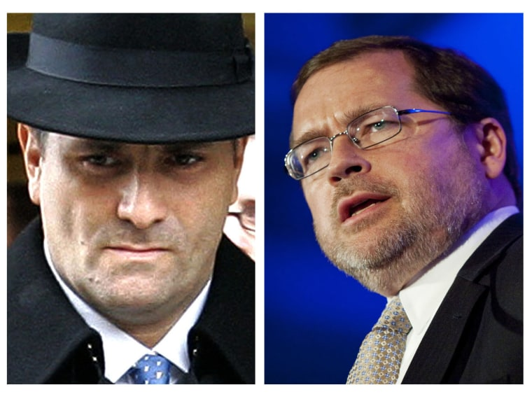File Photo: (L-R)  In this Jan. 3, 2006 file photo, Jack Abramoff  leaves Federal Court in Washington. (Photo by Gerald Herbert/AP Photo) Grover Norquist, chairman of Americans for Tax Reform, speaks at the Faith and Freedom Coalition in Washington...