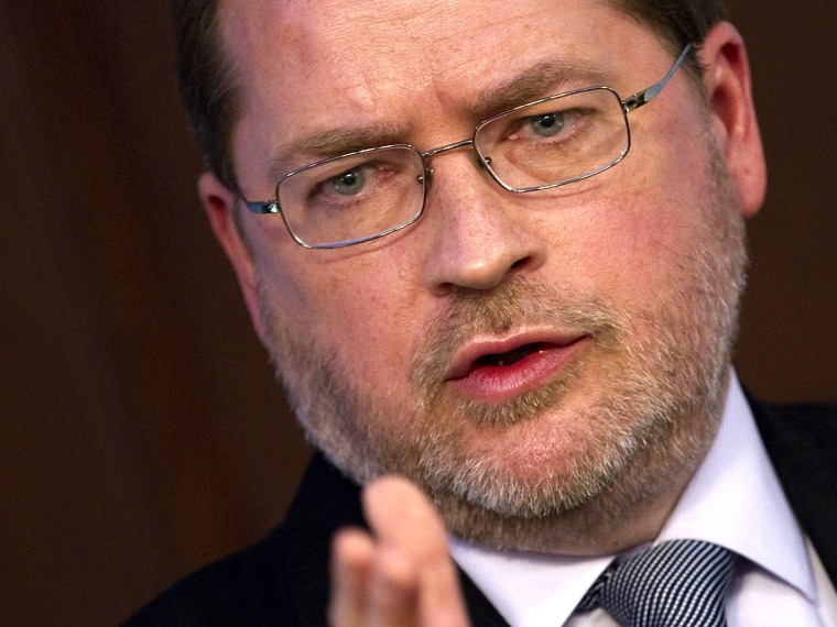 File Photo: In this dated November 29, 2011 filed photo shows the founder of Americans for Tax Reform Grover Norquist participates in a debate at American Enterprise Institute in Washington, DC. (Photo by Jim Watson/AFP/Getty Images)