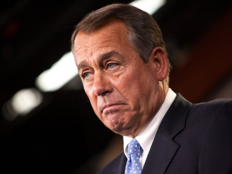 U.S. Speaker of the House Rep. John Boehner (R-OH) addresses the media during a press conference in the U.S. Capitol building November 9, 2012 in Washington, DC. Boehner called for delaying the fiscal cliff and extending Bush-era tax cuts until 2013.  ...