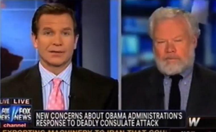 Fox News anchor Jon Scott, left and journalist Thomas Ricks, right, on Monday.