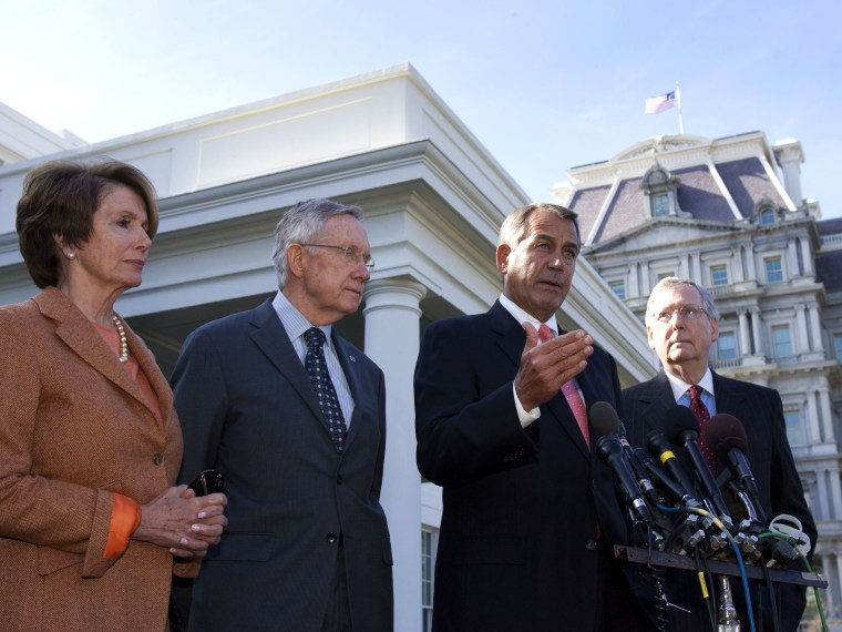 Speaker John Boehner (R-OH)  speaks to the media, accompanied by (from left) House Minority Leader Nancy Pelosi (D-CA), Senate Majority Leader Harry Reid (D-NV),  and Senate Minority Leader Mitch McConnell (R-KY),  at the White House after meeting with...