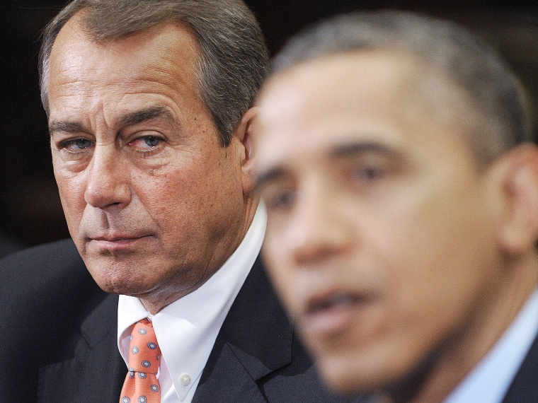 Speaker of the House John Boehner (R-OH) (L) listens as U.S. President Barack Obama speaks during a meeting with bipartisan group of congressional leaders in the Roosevelt Room of the White House on November 16, 2012 in Washington, DC. Obama and...