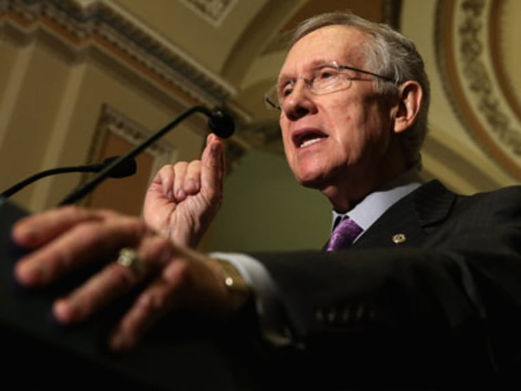 Senate Majority Leader Harry Reid giving a press conference at the U.S. Capitol in Washington, DC. (File photo by Chip Somodevilla/Getty Images)