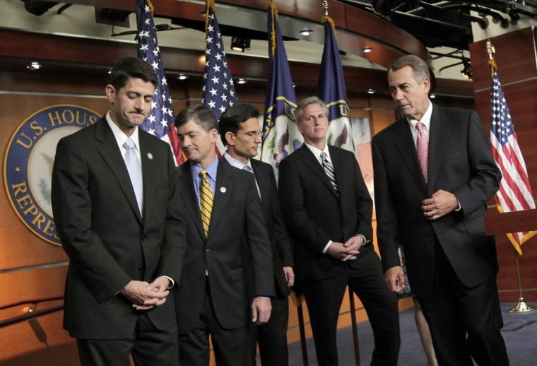 House Speaker  John Boehner of Ohio, right, accompanied by Rep. Paul Ryan, R-Wis., Rep. Jeb Hensarling, R-Texas. Also pictured: House Majority Leader Eric Cantor of Va., House Majority Whip Kevin McCarthy of Calif.  (Photo: AP file/J. Scott Applewhite)
