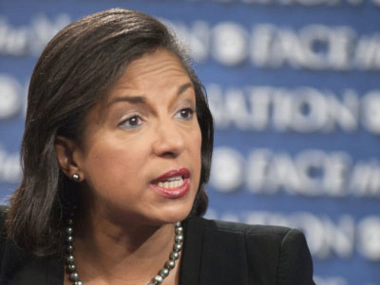 "Susan Rice, U.S. ambassador to the U.N. speaks on ""Face the Nation"" in Washington, Sunday, Sept. 16, 2012. (Photo by AP Photo/CBS News/ Chris Usher Files)"
