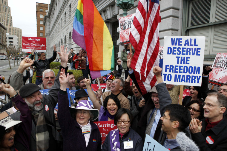 Gay Marriage advocates cheer during a rally moments before hearing the news of the Proposition 8 over-ruling outside the Ninth Circuit Courthouse in San Francisco, California, in this February 7, 2012, file photo (Photo: Reuters/Beck Diefenbach)