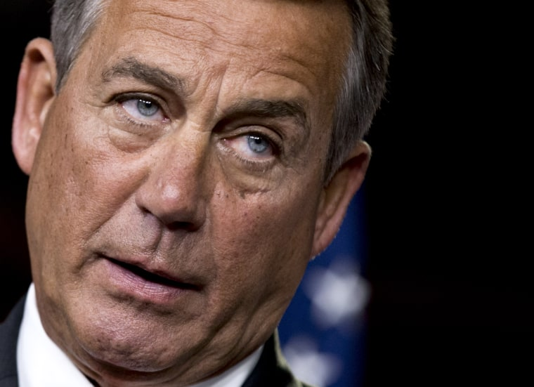 After private talks with Treasury Secretary Timothy Geithner on the fiscal cliff negotiations, House Speaker John Boehner said no substantive progress has been made between the White House and the House in the past two weeks. (AP Photo/J. Scott...