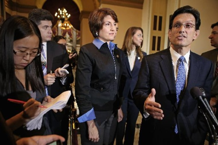 House of Representatives Majority Leader Eric Cantor (R-VA) and other House Republicans speak with reporters after the House passed the STEM Jobs Act November 30, 2012 in Washington, DC.  (Photo by Chip Somodevilla/Getty Images)