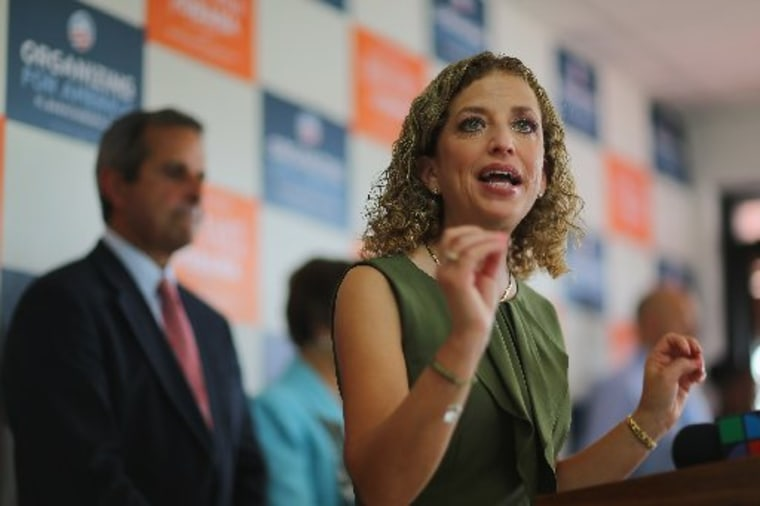 Democratic National Committee Chair Debbie Wasserman Schultz (D-FL) speaks during a rally in Miami, Fla. as she continues the DNC and Obama for America Gotta Vote Bus tour on October 25, 2012. (Photo by Joe Raedle/Getty Images)
