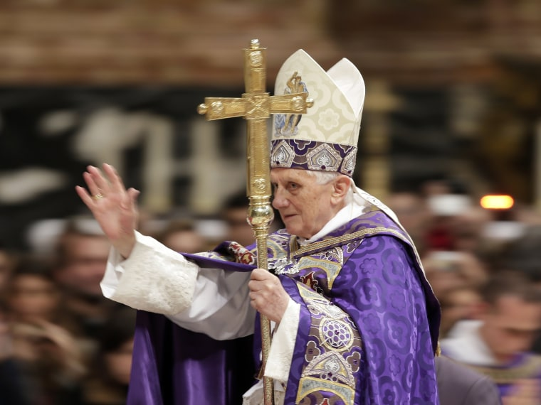 Pope Benedict XVI arrives to lead a Vespers mass in Saint Peter's Basilica at the Vatican December 1, 2012. (Photo: Reuters/Max Rossi).