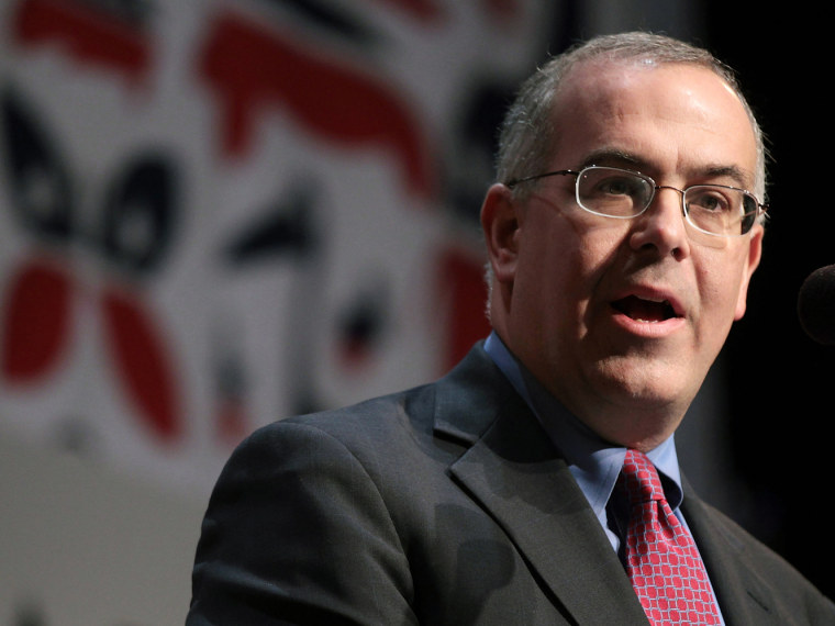 File Photo: Journalist David Brooks speaks at the launch of the unaffiliated political organization known as No Labels at Columbia University in New York City, Dec. 13, 2010. (Photo by Spencer Platt/Getty Images/File)