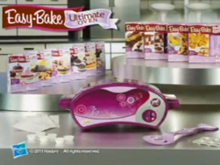 This screengrab from an Easy-Bake Ultimate Oven commercial shows the current model of the toy sold in stores