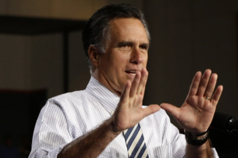 Mitt Romney at a campaign stop in Florida on Oct. 31.  (AP Photo/Charles Dharapak)