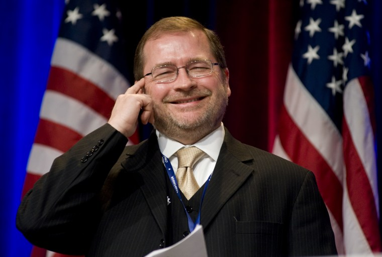 In this Feb. 19, 2010 file photo, Americans for Tax Reform President Grover Norquist jokes around as he is introduced prior to addressing the Conservative Political Action Conference (CPAC) in Washington. For two decades, Norquist has been the driving...