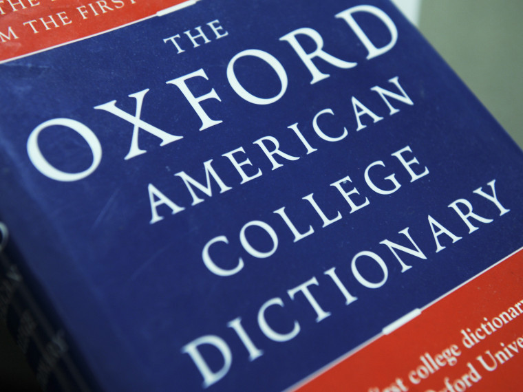 File Photo: View of the Oxford American College dictionary taken in Washington on November 16, 2009. (Photo by Nicholas Kamm/AFP/Getty Images)