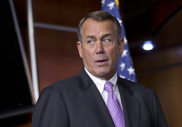House Speaker John Boehner is having to look over his shoulder to see if anyone is threatening is having to watch who, if anyone, on his far right is behind him on the fiscal cliff. (AP Photo/J. Scott Applewhite)