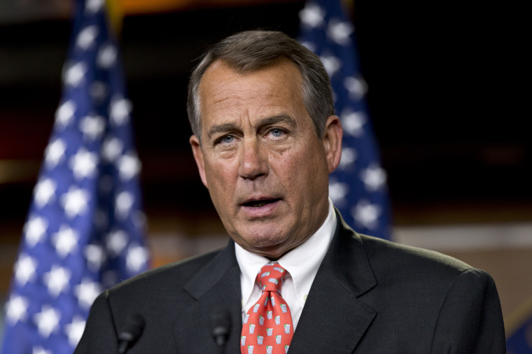 """Speaker of the House John Boehner, R-Ohio, talks to reporters after private discussions with Treasury Secretary Timothy Geithner on the fiscal cliff negotiations, at the Capitol in Washington, Thursday, Nov. 29, 2012. \""""No substantive progress has been..."""