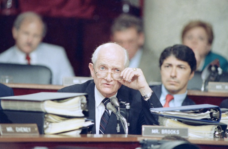 Rep. Jack Brooks, D-Texas, gives Lt. Col. Oliver North a tongue lashing in Washington on Monday, July 13, 1987 session of the Iran-Contra hearings. Sen. Daniel Inouye, D-Hawaii, chairman of the Senate select committee, announced that the questioning of...