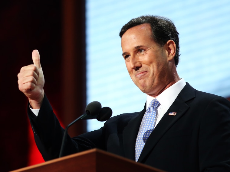 File Photo: Former U.S. Sen. Rick Santorum gestures as he walks on stage during the Republican National Convention at the Tampa Bay Times Forum on August 28, 2012 in Tampa, Florida. (Photo by Spencer Platt/Getty Images File)