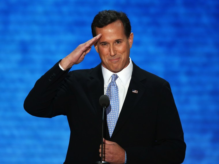 File Photo: Former U.S. Sen. Rick Santorum salutes during the Republican National Convention at the Tampa Bay Times Forum on August 28, 2012 in Tampa, Florida. (Photo by Mark Wilson/Getty Images)