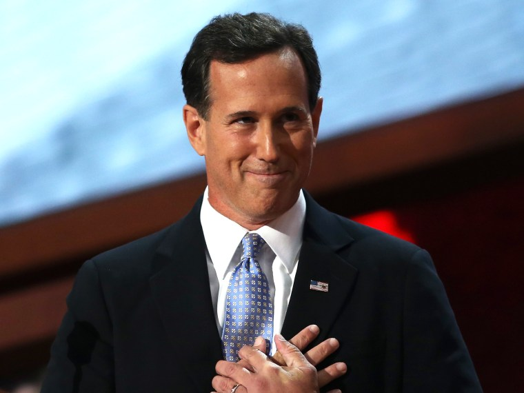 File Photo: Former U.S. Sen. Rick Santorum speaks on stage during the Republican National Convention at the Tampa Bay Times Forum on August 28, 2012 in Tampa, Florida. (Photo by Spencer Platt/Getty Images File)