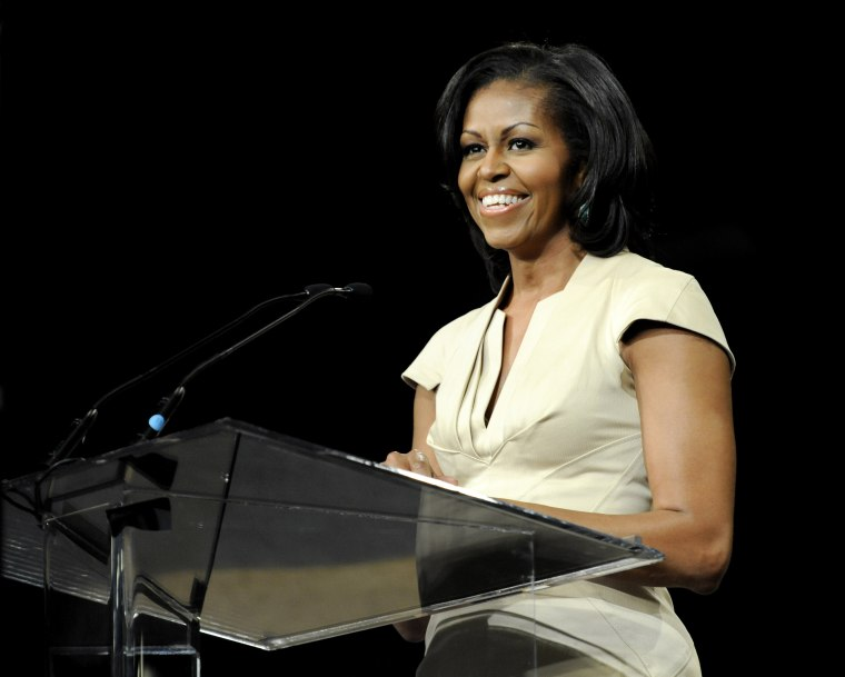 In this June 23, 2012 file photo, first lady Michelle Obama gives the keynote address to the African Methodist Episcopal Church general conference in Nashville, Tenn.  (AP FILE Photo/Donn Jones)