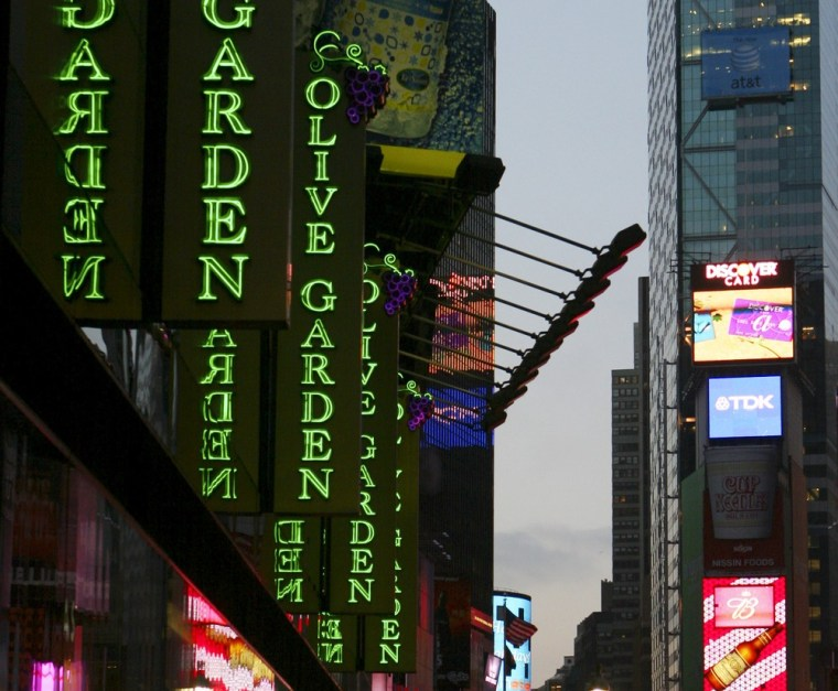 An Olive Garden resturant is shown in New York's Times Square in a file photo from Jan. 10, 2006. (AP Photo/Mark Lennihan, File)