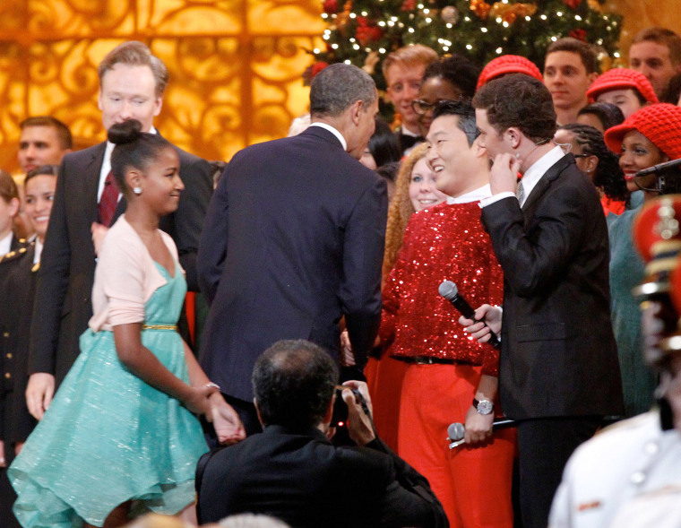 President Obama, here with Psy, may be about rock conservatives on the tax hike fight, Gangnam style.(Rex Features via AP Images)