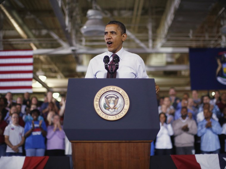 U.S. President Barack Obama delivers remarks after his tour of the Daimler Detroit Diesel plant in Redford, Michigan, December 10, 2012.  Obama traveled to Michigan for an event on the economy.   (Photo by Jason Reed/Reuters)