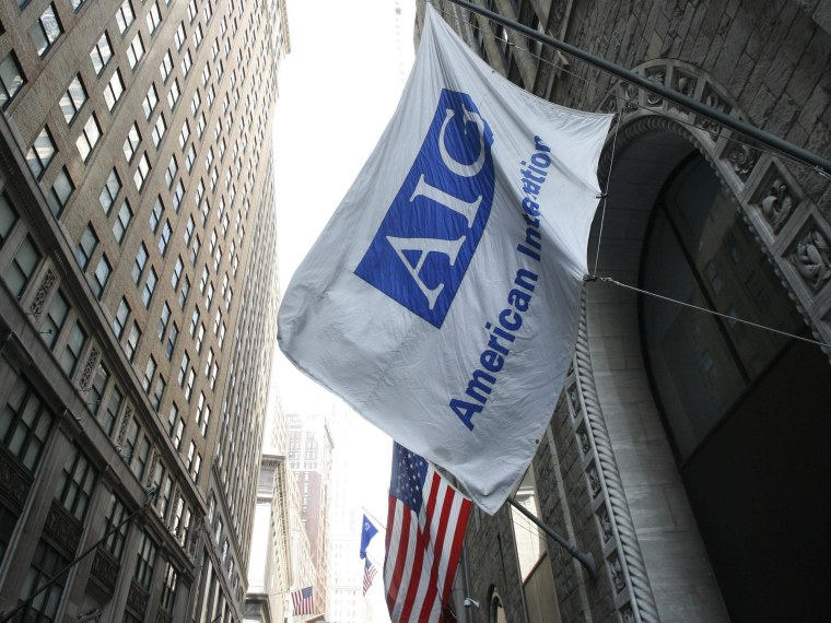 File Photo: An AIG office building is shown Tuesday, March 17, 2009 in New York.  (Photo by Mark Lennihan/AP Photo/File)