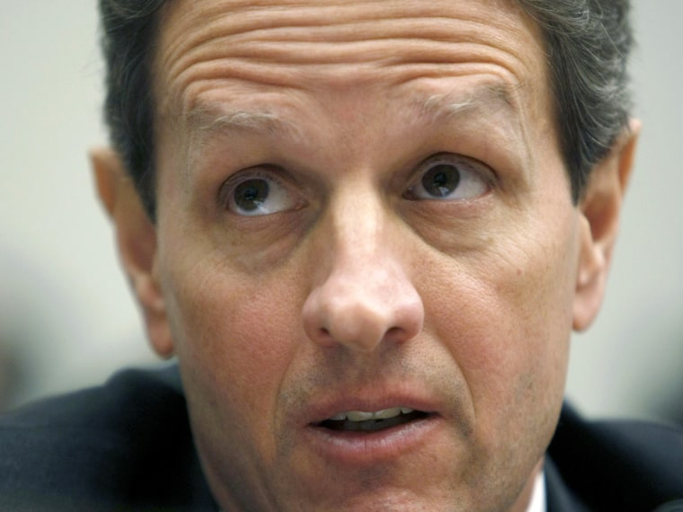"""File Photo:  Timothy Geithner testifies before the House Financial Services Committee Hearing on """"Oversight of the Federal Government's Intervention at American International Group (AIG),"""" on Capitol Hill in Washington March 24, 2009. (Photo by Kevin..."""