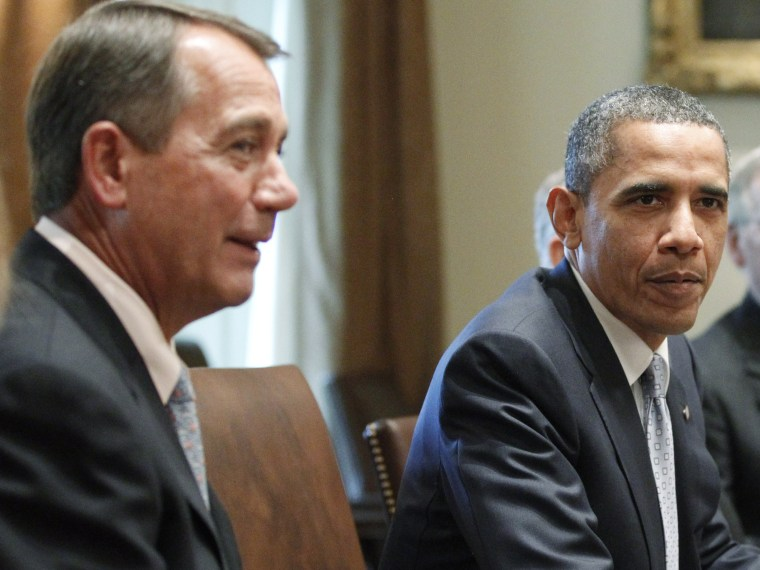 File Photo: President Barack Obama sits with House Speaker John Boehner of Ohio, and Senate Minority Leader Mitch McConnell of Kentucky, and Sen. Dick Durbin, D-Ill., as he meets with Republican and Democratic leaders regarding the debt ceiling in the...