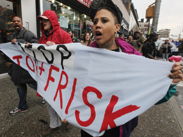 """File Photo: Opponents of the New York Police Department's controversial """"stop-and-frisk"""" policy march on Friday in the Bronx borough of New York City January 27, 2012. The NYPD says the stops assist crime prevention while opponents say they involve..."""