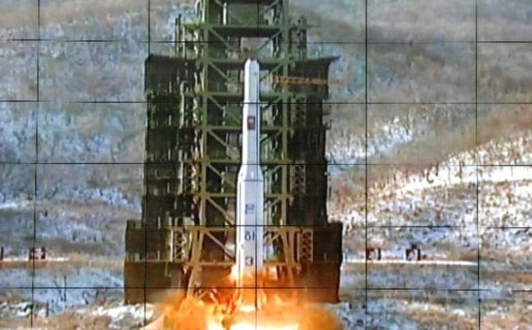 A screen at the General Satellite Control and Command Center shows the moment North Korea's Unha-3 rocket is launched in Pyongyang, North Korea,  Wednesday, Dec. 12, 2012. North Korea successfully fired a long-range rocket, defying international...