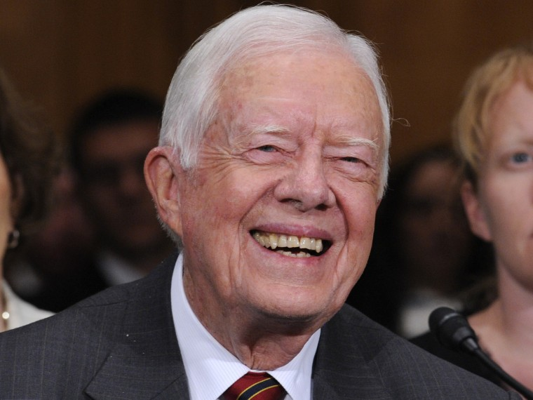 Former President Jimmy Carter is in favor of marijuana legalization in Colorado and Washington State. (Susan Walsh/AP Photo)
