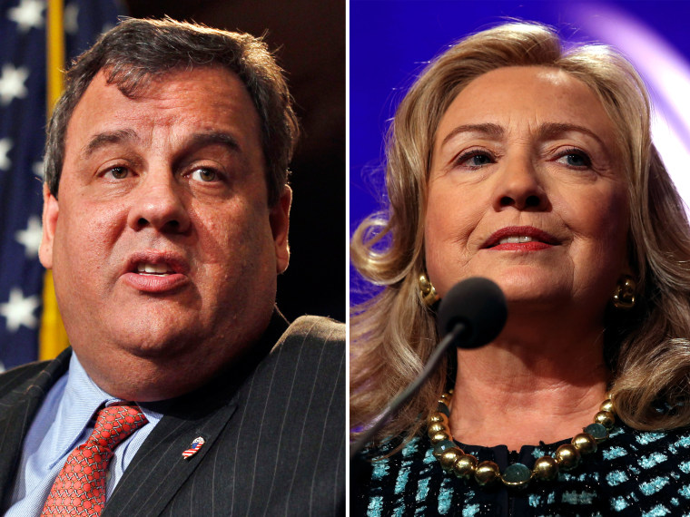 (L-R) In this Friday, Dec. 7, 2012 photograph, New Jersey Gov. Chris Christie answers a question during a news conference in Trenton, N.J. (Photo by Mel Evans/AP Photo) File Photo: U.S. Secretary of State Hillary Clinton speaks to participants of the...