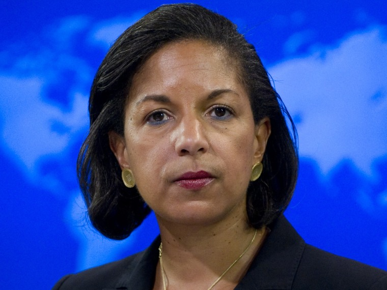 File Photo:  dated July 7, 2011 shows US Ambassador to the United Nations Susan Rice speaking about the independence of South Sudan during a briefing at the US State Department in Washington, DC. (Photo by Saul Loeb/AFP/Getty Images)