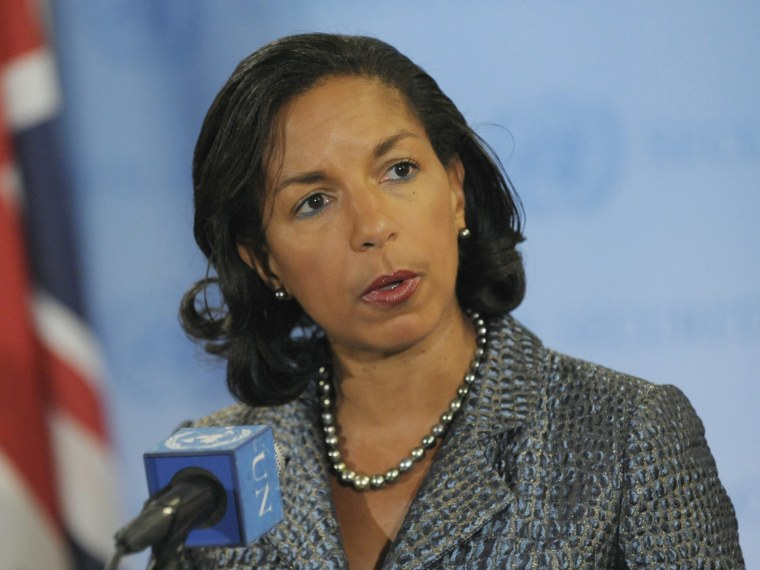 File Photo: US Ambassador to the United Nations Susan Rice, speaks after the U.N. Security Council meet to discuss a possible response to North Korea's failed rocket launch and the possible military coup in Guinea-Bissau at United Nations Headquarters,...