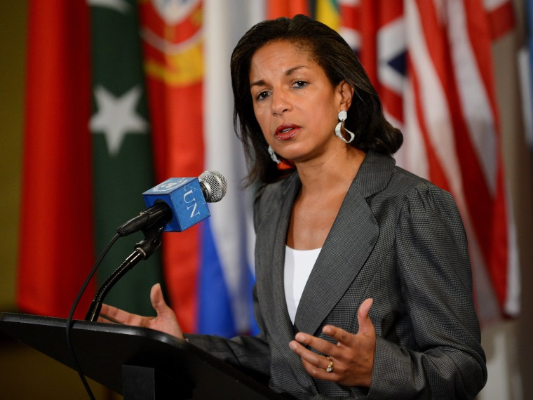 File Photo: Susan Rice, United States' Ambassador to the United Nations, talking to reporters following a closed door meeting of the United Nations Security Council about the ongoing violence in Syria at United Nations headquarters in New York, New...